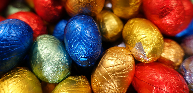chocolate eggs wrapped in colourful foil