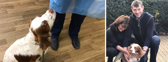 split image of lovely bonnie and her owners