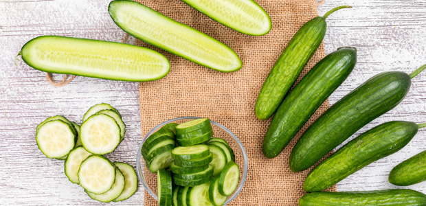 table of chopped cucumbers