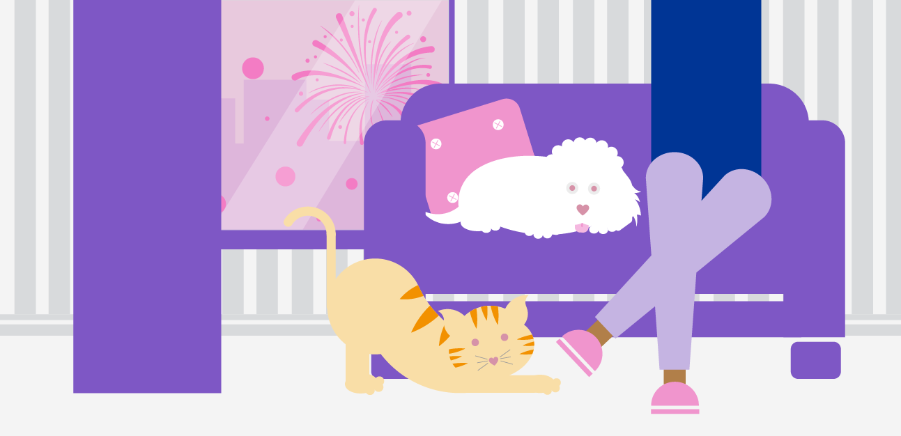 cartoon legs on sofa with cat and dog