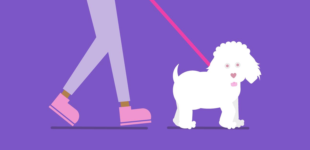 cartoon legs walking cartoon dog